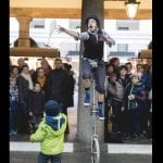 Corey juggling on a unicycle