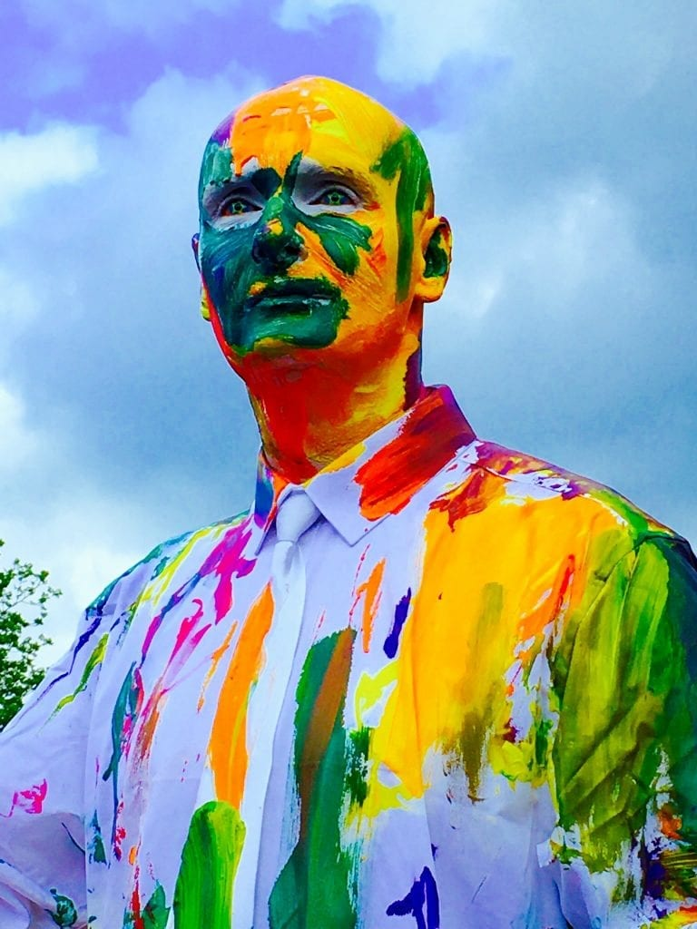 Human Statue Blanko covered in paint