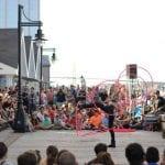 Satya Bella 6 hoop spin street show